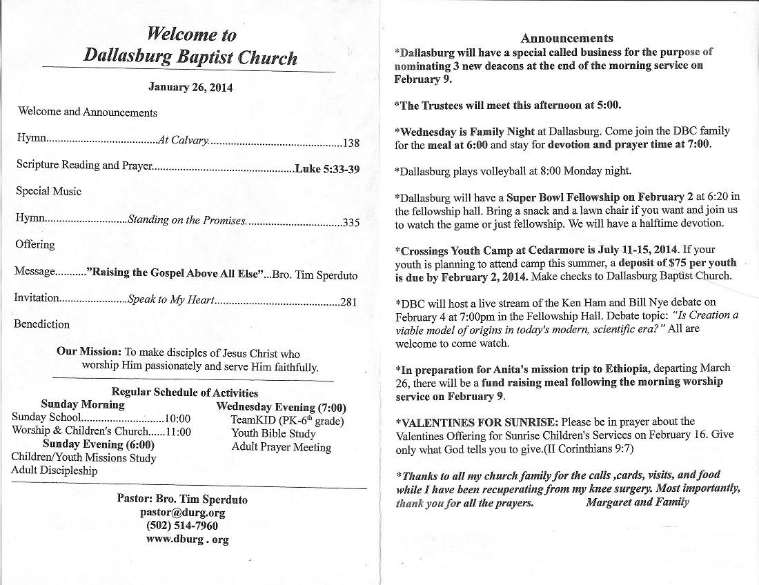 Tradition | Sermon Topics | Dallasburg Baptist Church